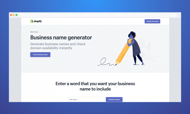 Find the Business Name Generator functional features